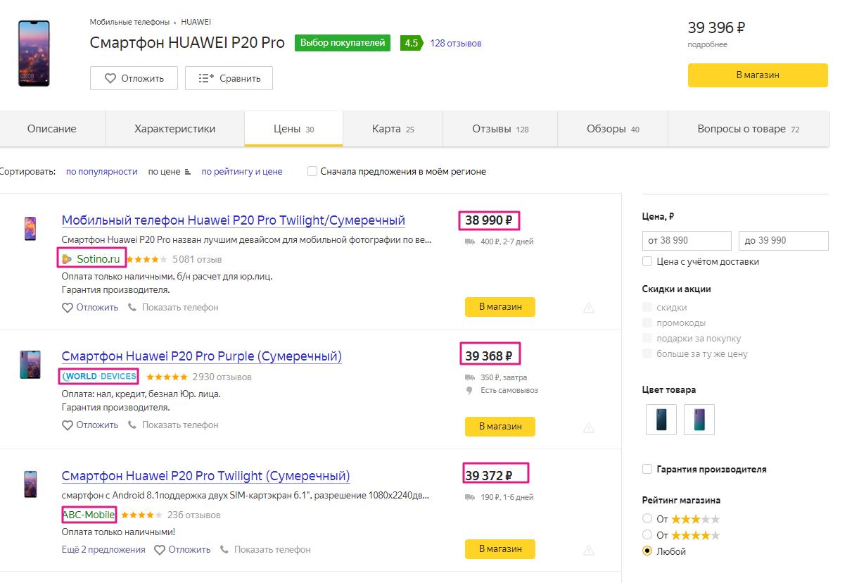Парсинг Яндекс.Маркет цены продавцов