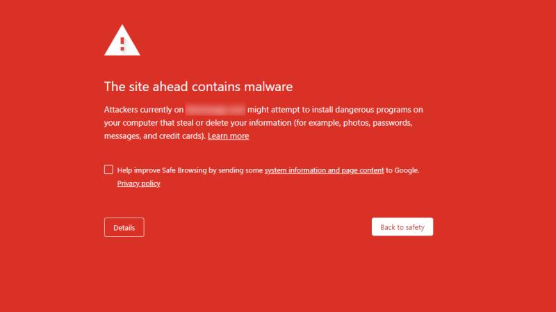 пример предупреждения Chrome о вредоносном ПО