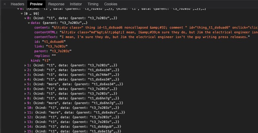 просмотр ответа на запрос в инструментах разработчика Chrome