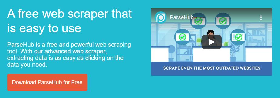 фрагмент веб-сайта ParseHub