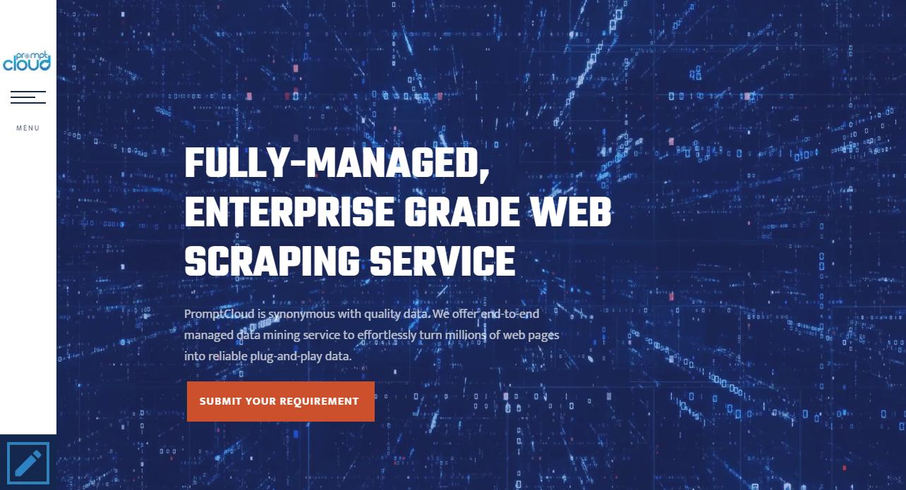 фрагмент веб-сайта PromptCloud