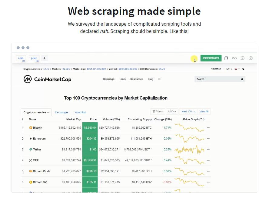 фрагмент веб-сайта расширения Simplescraper с демонстрацией его работы