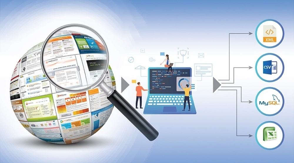 графическое представление парсинга в виде последовательности: Веб, компьютер, данные в разных форматах