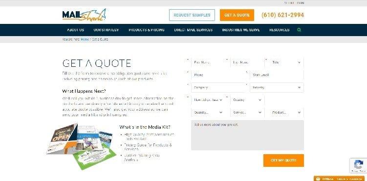 контактная форма MailShark для получения ценового предложения