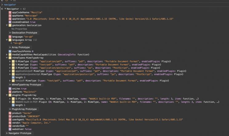 пример свойств объекта navigator в браузере