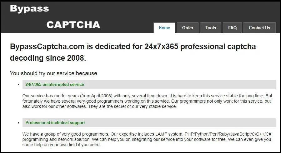 домашняя страница BypassCaptcha