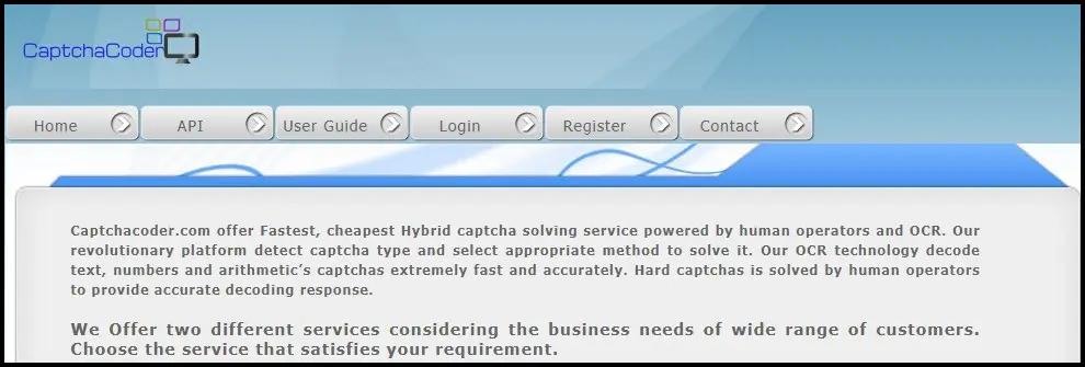 домашняя страница CaptchaCoder