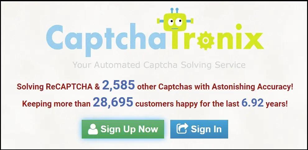 домашняя страница CaptchaTronix