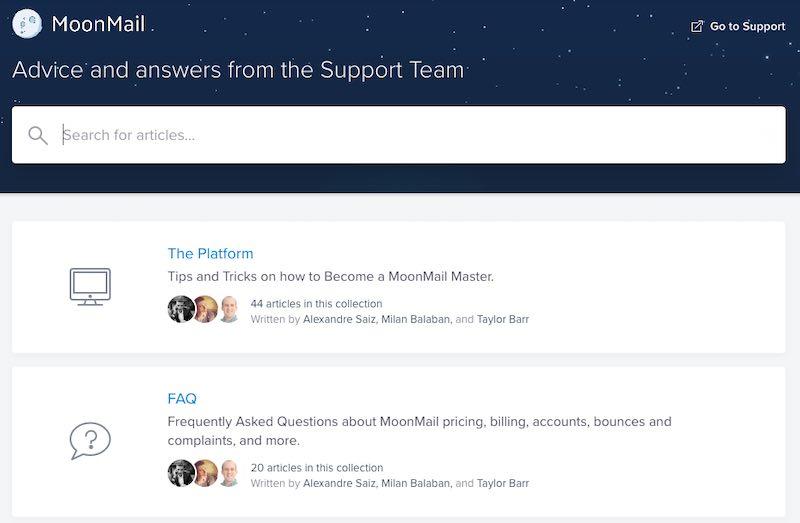 поиск по статьям службы поддержки в MoonMail