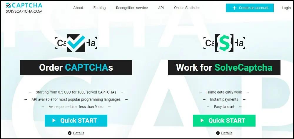 сайт веб-сервиса SolveCaptcha