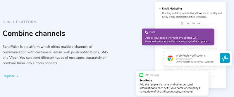 в SendPulse есть возможности общения с покупателями через различные каналы