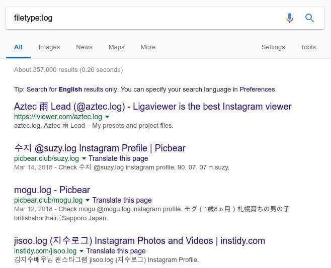 поиск логов при помощи Google Dorks